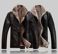 Fashion Mens Stand Collar Winter Warm Linging Leather Sheep Skin Lamb Fur Jacket