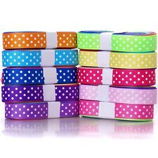 "25YDS GROSGRAIN  RIBBON many colours 3/8"" 5/8"" dotty  wholesale bulk free ship"