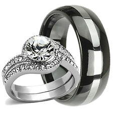 3 pc His/Hers STERLING SILVER Engagement Wedding Ring Set & Steel Etternity Band