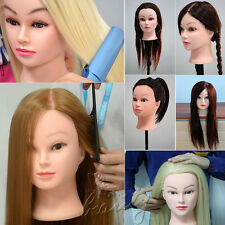 Real Human Hair Hairdressing Training Head Mannequin Doll Head + Free Clamp UK