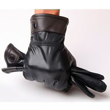 Men's Genuine Lambskin Leather Button Wrist Winter Warm Fleece Lining Gloves