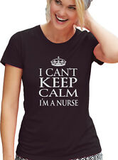 "Nurse T-Shirt ""I CANT KEEP CALM I'M A NURSE"" BLACK Tee, Womens Cut T Shirt"