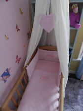 NEW BEAUTIFUL CRIB COT OR COTBED  SET WITH LACE .VARIOUS COLOURS AVAILABLE