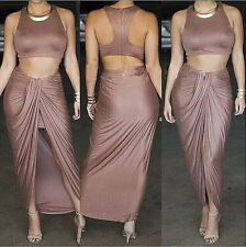 Womens Bodycon Slimming Club Bandage Two Piece Crop Top Skirt Dress Set S M L