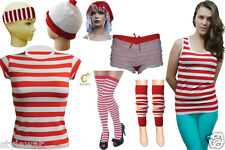 WORLD BOOK DAY FANCY DRESS COSTUME MENS LADIES KIDS BOYS RED WHITE STRIPES