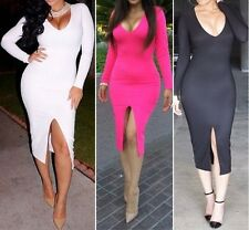 Sexy Women Deep Vneck Slit Bodycon Club Party Cocktail Pencil Mid Sheath Dress A