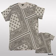 Paisley Bandana Print Graphic T shirts Black White Hip Hop Mens Allover Tee