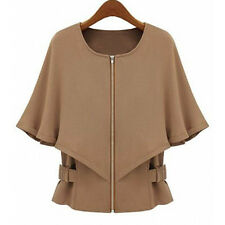 Brown Fashion Womens Zipper Jacket Wraps Half Sleeve OL Short Coat Batwing Tops