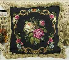 "18"" Beautiful Vtg Chic Charm French White & Red Rose Handmade Needlepoint Pillow"