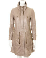 Womens Leather Drawstring Parka Coat in Grey, Womens Greay Leather Parka Coat