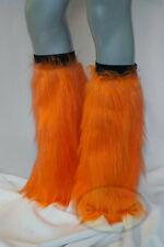 Orange Fluffy Legwarmers Rave Wear Accessories