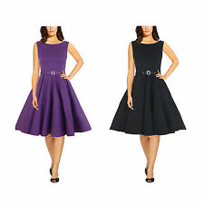 Audrey Hepburn Style Vintage 1950s Rockabilly Swing Pin Up Evening Dress