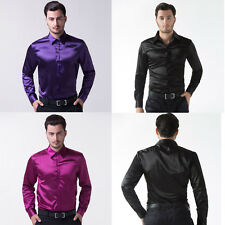 HOT Silk Satin Mens Long Sleeve Luxury Italian Style Shirts Dress Shirts T-Shirt