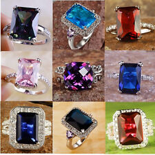 2014 Hot sale multispecies multicolour Silver Ring size 6 7 8 9 10 11 free ship
