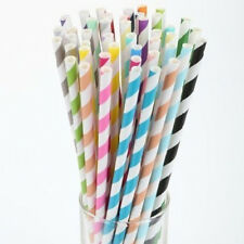 New 25 pcs/bag Colorful Drinking Paper Striped Straws For Wedding and Party