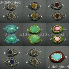 Druzy Quartz Agate Gemstone Crystal Rhinestone Connector Charm Beads Silver New