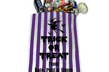 "PERSONALISED Trick or Treat Halloween Sweet Bags - Purple Striped 5"" x 7"""