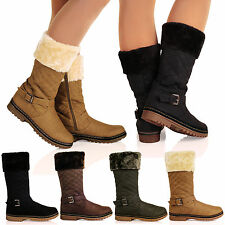 D3Z Womens Fur Lined Quilted Mid Calf Boots Collar Grip Casual Ladies Shoes Size