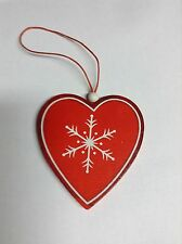 Wooden ChristmasTree Decoration Shabby Chic Heart Tree Red & White Charizma