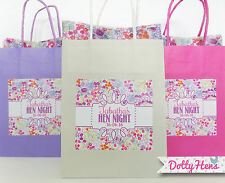 PERSONALISED HEN PARTY GIFT BAGS - VINTAGE FLOWER- BIRTHDAY WEDDING GIFT FAVOURS