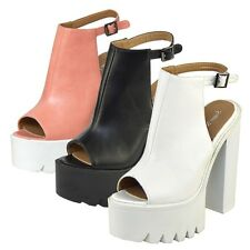 Ladies Cleated sole high heel sandals womens chunky platform sandals shoes