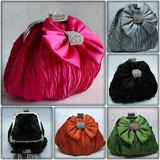 PLEATED SATIN BOWKNOT CRYSTAL MINI EVENING CLUTCH BAG WEDDING PARTY PROM