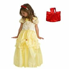 Child Princess Beauty and the Beast Yellow Belle Costume Set w/ Red Cape