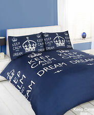 Keep Calm Navy Duvet Bedding Set - Single-Double-King Size-Super King Size
