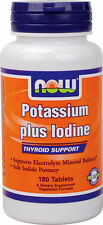 NOW FOODS Potassium plus Iodine - 180 Tabs  - THYROID & PH balance