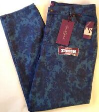 "Gloria Vanderbilt ""Amanda"" Stretch Denim Jeans  22W Night Watch Print $58"