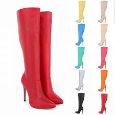 2014New Womens High Heels Pointed Toe Mid Calf Knee Wide Leg Boots UK Size 2 - 9