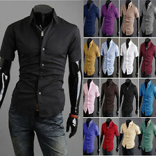Fashion Men's Luxury Short Sleeve Casual Slim Fit Stylish Dress Shirts 17 Colors