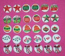 6 CUTE CHRISTMAS TIME FABRIC COVERED BUTTONS available in 25mm Size