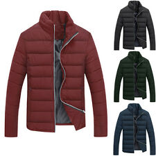 Mens Casual Long Sleeve Stand Collar Cotton Blend Zippered Pockets Warm Jackets