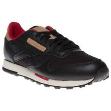 New Mens Reebok Black Classic Leather Utility Trainers Retro Lace Up