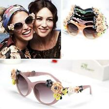 Women Girls Cat Eye Sunglasses Retro Oversized Decor Floral Flower Glasses D79