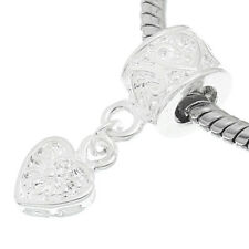 NEW Silver Plated Dangle Love Heart Charm Bead Fits Most European Charm Bracelet