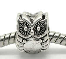 NEW Antique Silver Tone Owl Bird Animal Charm Bead Fit Most European Bracelets