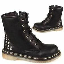 GIRLS SCHOOL BOOTS NEW BIKER RIDING ARMY MILITARY GOTH FASHION BLACK SHOES SIZE