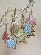 Set of 6 Vintage Christmas Hanging Metal Ornament Tree Star Bauble Decorations