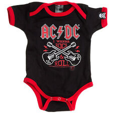 AC/DC Official Wanna Rock Baby Onesie Metal Guitar Infant Romper Kids