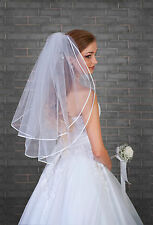 2 Tier Women Wedding Elbow Satin Edge Veil  With Comb Attached VL-46