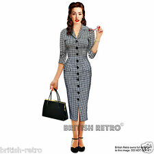 British Retro Houndstooth Vintage Pencil Dress *50s Rockabilly Party Pin-Up*