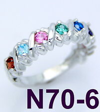 .925 STERLING SILVER RING - WITH 6 BIRTHSTONES - CUSTOM FAMILY, MOTHERS JEWELRY
