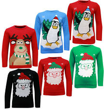 Lovell Kids Crew Neck Christmas Jumper in Black, Red, Green or Blue