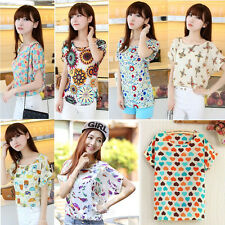 Hot Fashion Women Casual Short Sleeve Heart Printed Chiffon T-shirt Tops Blouse