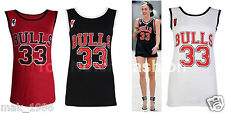 New Womens Ladies Miley Cyrus Bulls 33 American Basketball Varsity Vest T-shirt