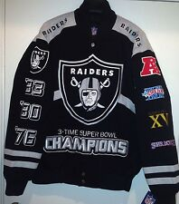 Oakland RAIDERS Championship Jacket  By GIII Jacket 3 TimeSuperBowl -2014 Jacket