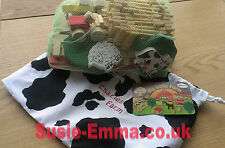 My Little Wooden Farm Play set ** Personalised cow print storage bag 3 options