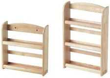 2 TIER/3 TIER WOODEN SPICE RACK HERB STORAGE HOLDER WALL MOUNTED